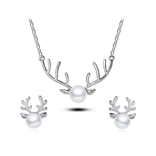 Christmas Reindeer Charm - T-Perfect Life 18K Gold-Plated Pearl Charm Christmas Reindeer Pendant Necklace Earrings 2 Set (Silver)