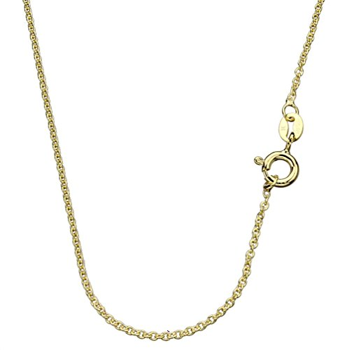 18k Gold-Flashed Sterling Silver 1.3mm Fine Cable Nickel Free Chain Necklace Italy, (Single Chain Link)