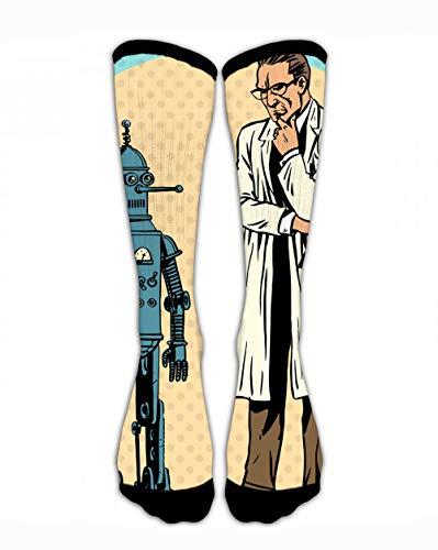 SARA NELL Men & Women Classics Crew Socks Professor Scientist and Robot Creator Gadget Funny Crazy Unique Thick Warm Cotton...