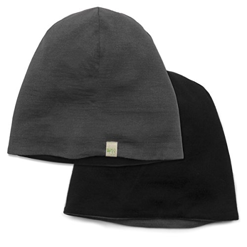 Minus33 Merino Wool Reversible Shade Beanie, Black/Charcoal Grey, One Size (Running Wool Hat)