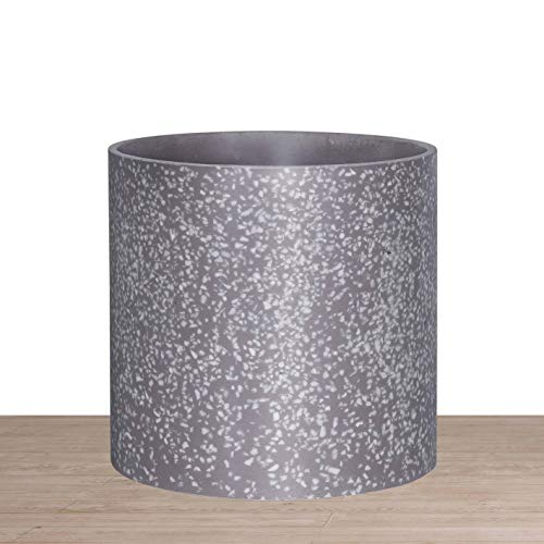 Indoor 10 Inches Round Modern Planter Pot - Terrazzo - Easy Grow Fiberglass Resin Planter with Drainage Hole and Plug - by D'vine Dev