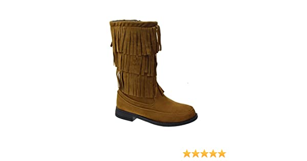 Amazon.com | Limor Little Girls Moccasin 3 Layered Fringe Boots ...