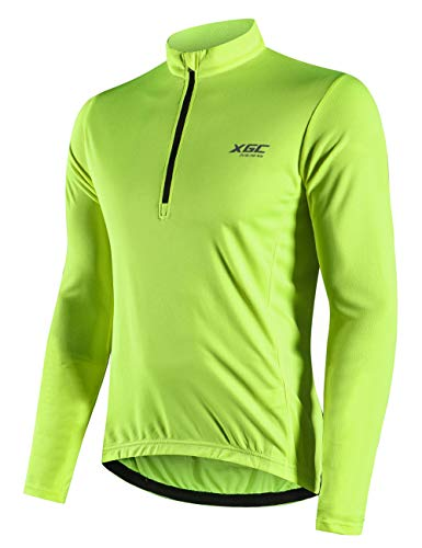 Men's Long Sleeve Cycling Jersey Bike Jerseys Riding Mountain Bicycle Shirt with Quick Dry Breathable Fabric (Green, XXXL)