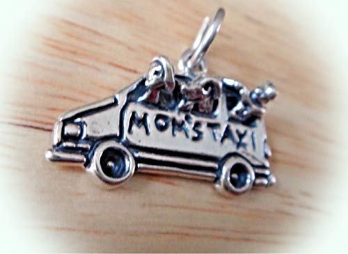 Sterling Silver 14x22mm Car Van say Mom's Taxi w/Kid Dog Charm Vintage Crafting Pendant Jewelry Making Supplies - DIY for Necklace Bracelet Accessories by CharmingSS -