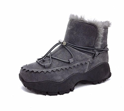 Zapatos De Mujer Moda Calidez Botas Cachemira Tubo Gray Casual Fondo Meili Además Grueso Algodón Corto Nieve dEqT51