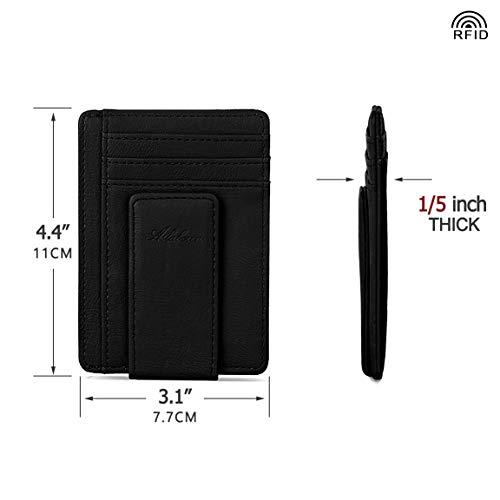aslabcrew minimalist genuine leather magnetic front pocket money clip wallet rfid blocking card. Black Bedroom Furniture Sets. Home Design Ideas