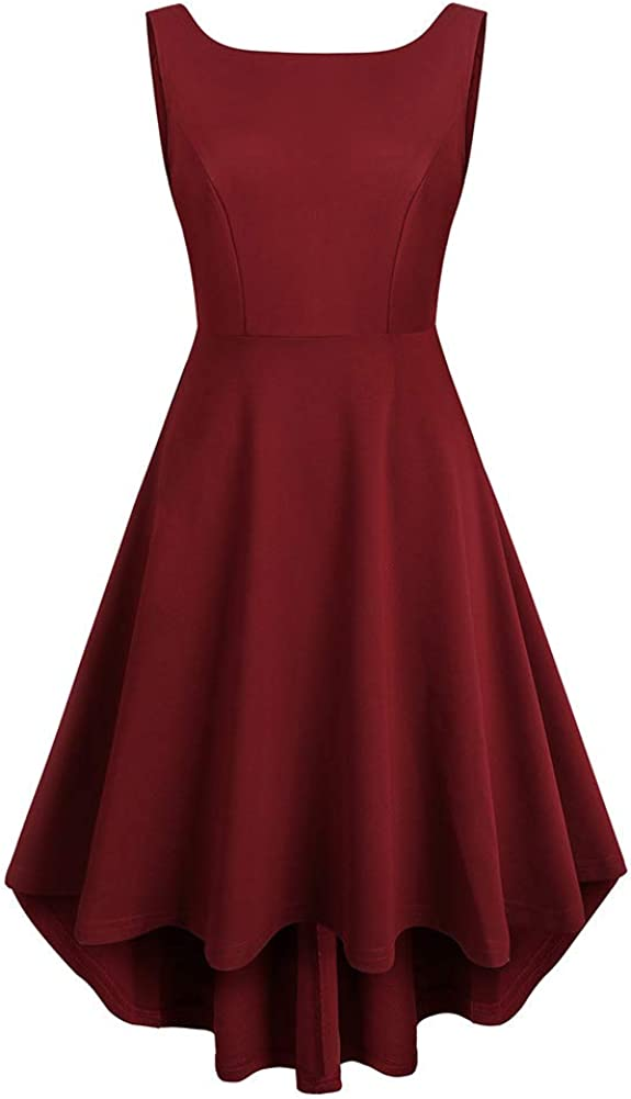 REORIA Women Sleeveless Boat Neck High Low Vintage Cocktail Skater Swing Dress