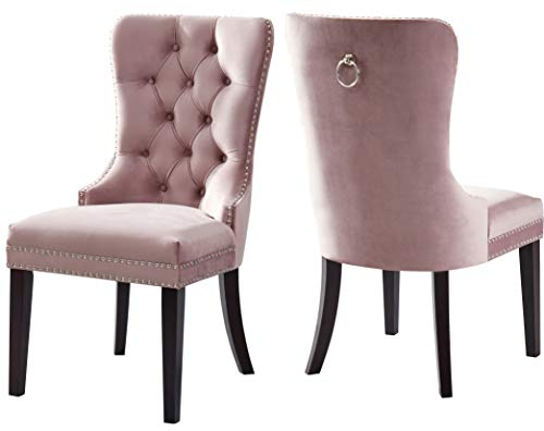 Meridian Furniture 740Pink-C Nikki Velvet Dining Chair with Wood Legs, Luxurious Button Tufting, and Chrome Nailhead Trim, W x 23″ D x 40″ H, Pink, Set of 2