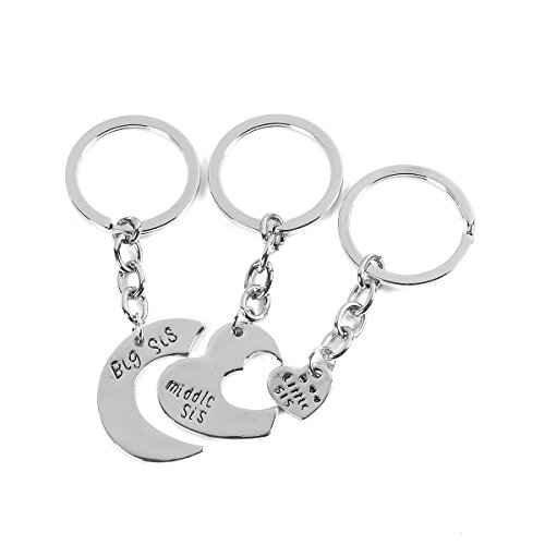 Best Friends Keychain & Keyring Heart big middle little sister ( 3 PCs/Set)