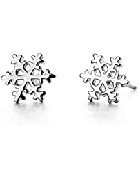 White Gold Plated Simple Small Mini Smooth Snowflake Stud Earrings Fashion Jewelry for Girls