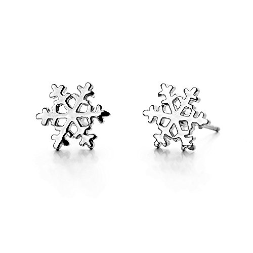 white-gold-plated-simple-small-mini-smooth-snowflake-stud-earrings-fashion-jewelry-for-girls