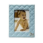 Modali Baby Fine & Elegant Faux Blue Leather Photo Frame 5x7  Adorned with a Silver Plated Rocking Horse