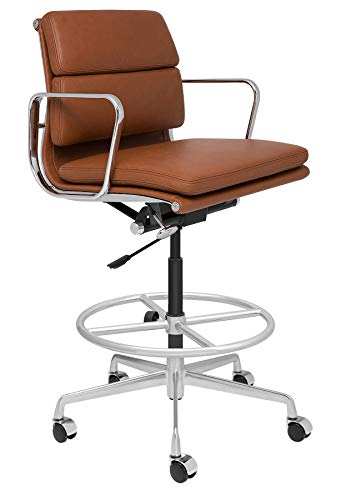 SOHO Premier Soft Pad Drafting Chair - Italian Leather and Aluminum, Commercial Grade Draft Height for Standing Desks (Brown)