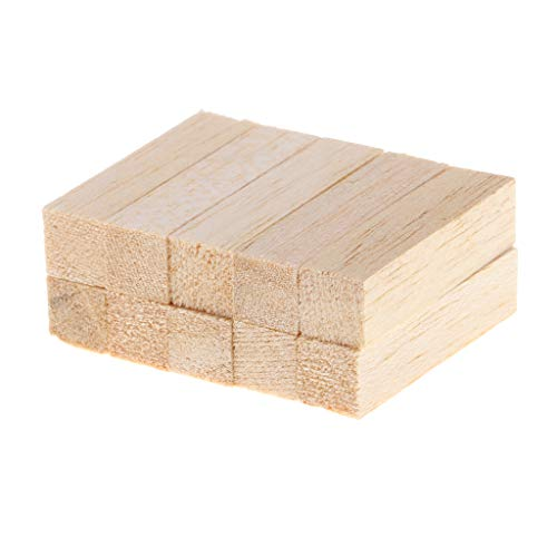 Block Balsa (Prettyia 10 Pieces 50/80mm Square Unfinished Balsa Wood Stick Wooden Dowel Rod Block for Kids Model Making DIY Craft Home Wedding Party Decoration - 80mm)