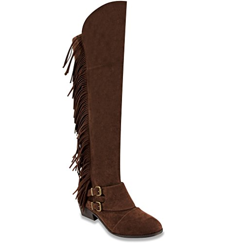 - Sugar Womens TONDRUM Over The Knee Boot with Fringe 7.5 Dark Brown