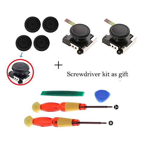 Analog 3d Joystick - Onyehn 2Pack 3D Replacement Joystick Analog Thumb Stick for Switch Joy Con Controller - Include Tri-Wing, Cross Screwdriver+ 4 Thumbstick Caps