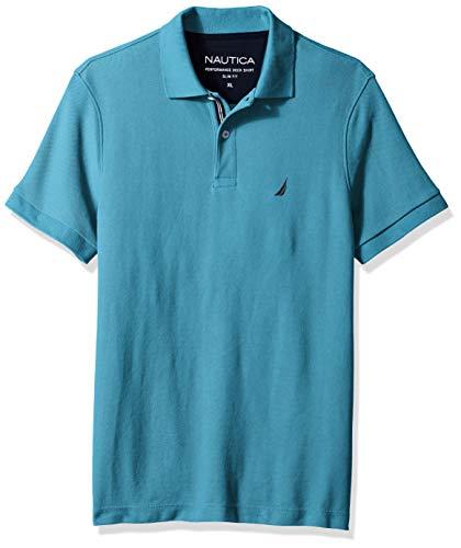 Nautica Men's Short Sleeve Slim Fit Solid Deck Polo, Hawaiian Ocean X-Large - Nautica Hawaiian Shirt