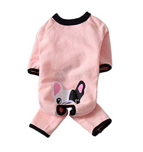 BBEART Dog Pajamas,Warm Winter Fleece Dog Pug Clothes Pet Winter Clothes Jumpsuit Bulldo French Bulldog Costume Apparel for Small Dogs Medium Large Dogs (Large, -