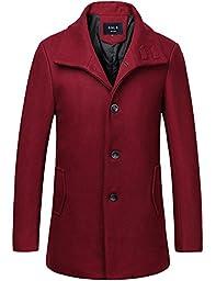 SSLR Men\'s British Single Breasted Slim Wool Coat (Large, Wine Red)