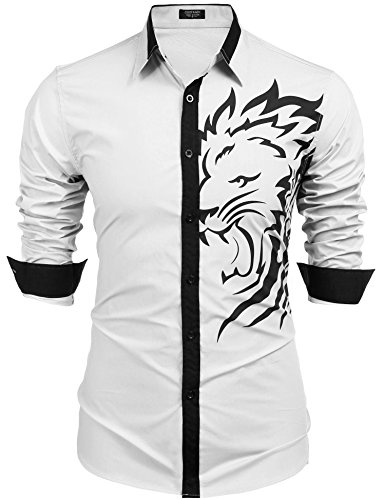 Coofandy Mens Casual Fashion Print Button Down Cotton Long Sleeve Dress Shirt Lion Head Print,White 4,X-Large ()