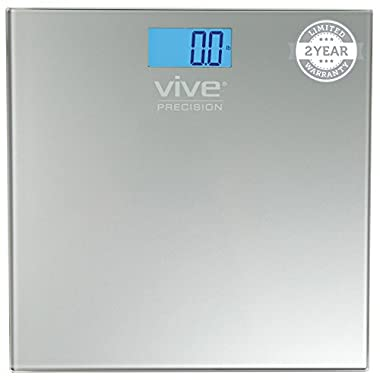 Digital Bathroom Scale by Vive Precision - Best Selling, Accurate Weight Scale - 2 Year Warranty (Silver)