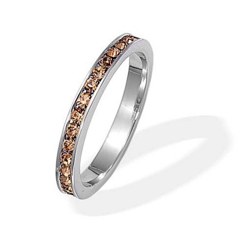 Bling Jewelry 925 Silver Simulated Citrine CZ Birthstone Eternity Ring