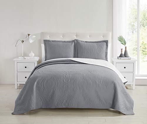 Spirit Linen Home Quilt Set Superior Comfort 3pc Reversible Embossed Quilts Multiple Color Options (Dark Grey,White, Full Queen) (Grey Sets Quilt)