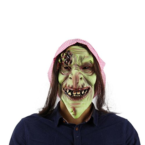 Nesee Halloween Mask,Old Hag Snow Horror Witch Costume Latex Adult Size Full Mask (Angel Costume Without Halo)
