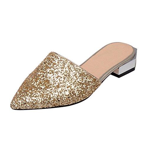 YE Damen Mules Flach Geschlossen Pantoffen Outdoor Slipper mit Glitzer Strass Bequem Sommer Schuhe