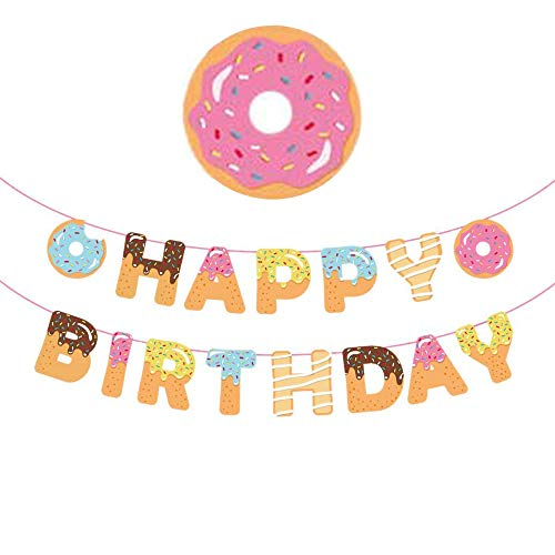 Donut Party Supplies Decorations Banner - Donut Theme Happy Birthday Party Banner Baby Shower Wall Decoration ()