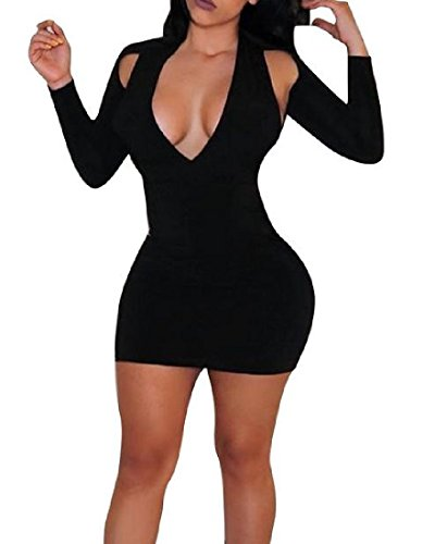 Low Women Bodycon Black Mini Sexy Solid Out Dress Fitted Coolred Hollow Out wCFqdUII