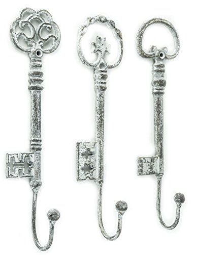 Vintage Oversized Key Hooks, Set of 3 - Shabby Chic Décor by Red Co.