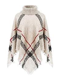 Ferand Women's Knit Plaid Warm Winter Poncho Sweater
