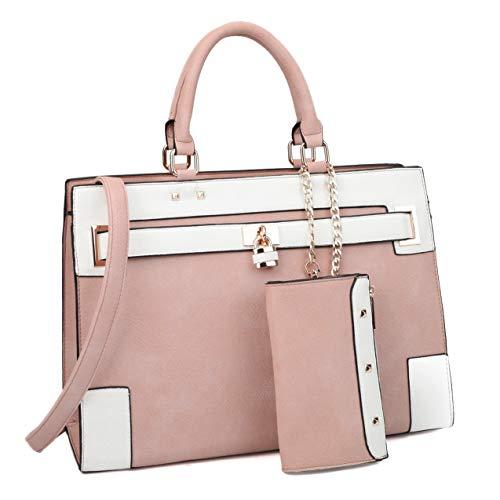 (Women Two Tone Laptop Purses Handbags Satchel Bags Work Briefcase Tote Top Handle Shoulder Bag with Wallet )