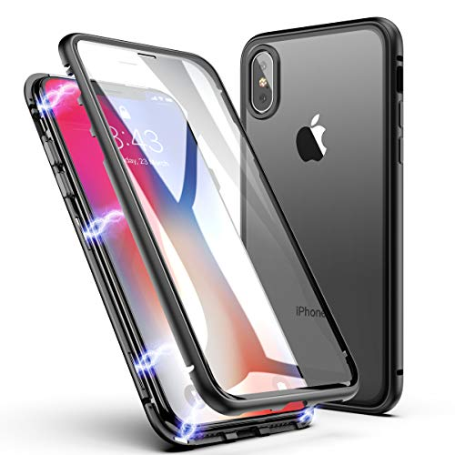 - iPhone X Case, iPhone Xs Case, ZHIKE Magnetic Adsorption Case Front and Back Tempered Glass Full Screen Coverage One-Piece Design Flip Cover for Apple iPhone 10/X/XS (Clear Black)