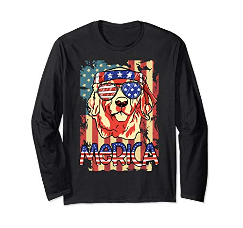 Golden Retriever Merica American Flag 4th Of July shirt Long Sleeve T-Shirt