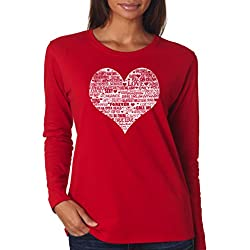 SignatureTshirts Women's Valentines Day Heart Romantic Text Long Sleeve T-shirt M Red