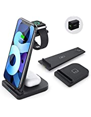$28 » Wireless Charging Station-3 in 1 Qi-Certified Fast Charging Stand Compatible Apple Watch Series 6/5/4/3/2 Airpods Pro iPhone 12/12pro/11/11pro/X/XS/XR/XS Max/8/8 Plus/with(QC 3.0Adapter)(Black)