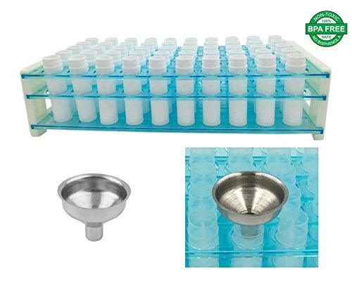 Price comparison product image DIY Lip Balm Kit - Easy Way to Fill Lip Balm Containers - NO Tipping Over - NO Spilling! Lip Balm Containers (50 White) & Easy Pour Funnel & Plastic Test Tube Rack Tube Holder Holds 50 Lip Balm Tubes
