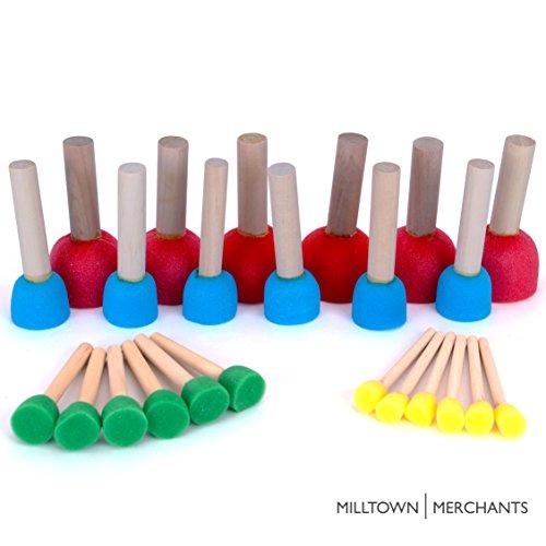 Foam Pouncer Assortment - Sponge Painting Stippler Set 24/pkg - Foam Brush Value Pack - 6 (1/2''), 6 (3/4''), 6 (1-3/16'') 6 (1-3/4'') by Milltown Merchants
