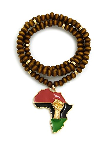 """Fist Power in Pan African Colored Africa Map Pendant 6mm 30"""" Wooden Bead Necklace in Gold Tone (Pan Color / 6mm 30"""" Wooden Bead Brown)"""