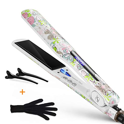 Natalie Styx Professional Ionic Flat Iron Hair Straightener, Straightens Curls with Adjustable Temp, 1.5 Plates Hair Straightener for All Hair Type, Dual Voltage, Gift for Women