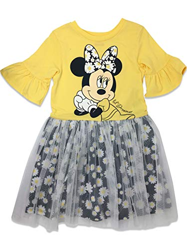 Disney Toddler Girls' Minnie Mouse Tulle Dress, Yellow/Navy (3T)