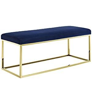 Modway EEI-2851-GLD-NAV Anticipate Velvet Fabric Upholstered Contemporary Modern Bench with Stainless Steel Frame, Gold Navy