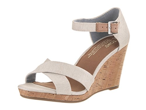 TOMS Women's Sienna Wedge Sandal Natural Yarn Dye Size 7 B(M) US