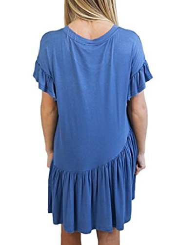 Crew Women Light Short Blue Dress Sleeve Coolred Ruffled Mini Neck Weekend Splicing qdZwtvR