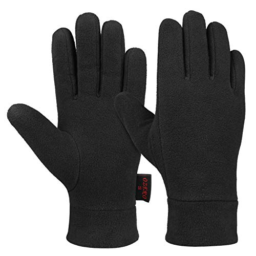 (OZERO Winter Warm Gloves with Insulated Polar Fleece and Thermal Cotton Lining - Cold Weather Glove Liners for Men and Women (Black,Medium))
