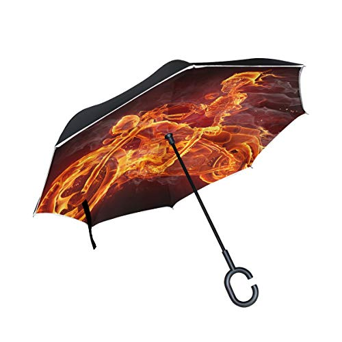 KUneh Double Layer Inverted Fire Skeleton Riding Motorcycle Umbrellas Reverse Folding Umbrella Windproof Uv Protection Big Straight Umbrella for Car Rain Outdoor with C-Shaped Handle -