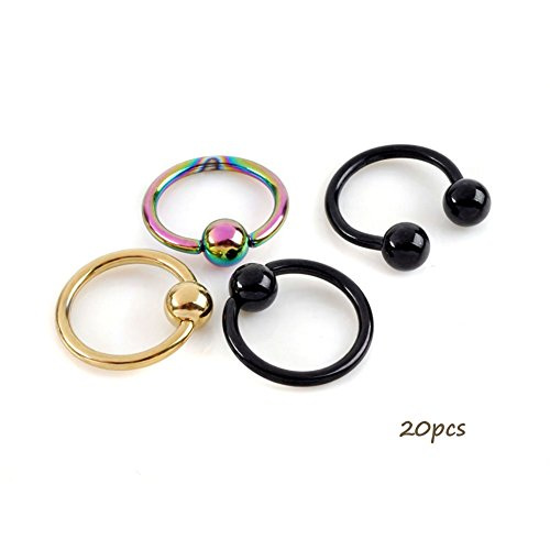 Ring Body Jewelry Captive Nipple (Shuning Captive Bead Hoop horse Eyebrow Nipple Nose Lip Rings Stainless Steel 20pcs 14G)