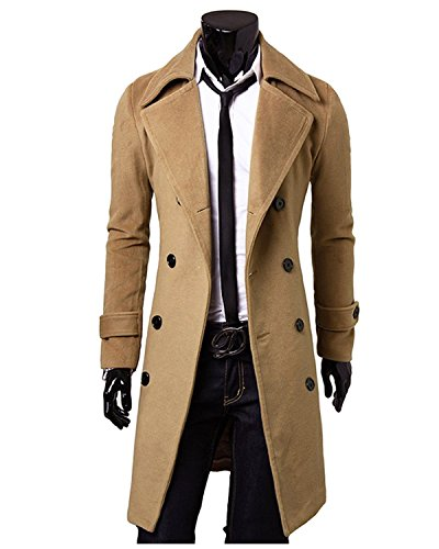 Sunnorn Men's Winter Double-breasted lon - Brown Trench Shopping Results